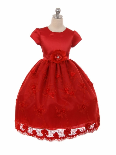 Red Satin Short Sleeve Embroidered Dress
