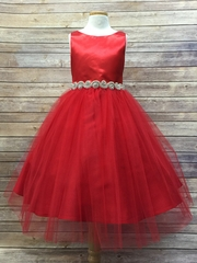 Red Satin & Tulle Dress w/ Gem Belt