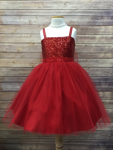 Red Sequined Bodice w/ Tulle Skirt & Sash