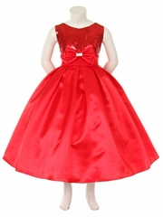 Red Sequins Bodice w/Satin Skirt & Rhinestone Double Bow Pin