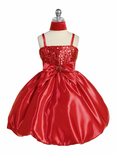 Red Sequins Dress on Satin w/Shawl