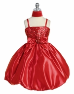 Red Sequins Dress on Satin w/ Shawl