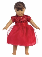 Red Sequins W/ Tulle Doll Dress