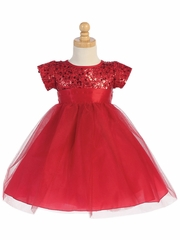 Red Sequins W/ Tulle Dress