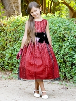 Red Sleeveless Shimmery Dress w/ Velvet Bow