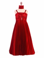 Red Shiny Satin Pleated Long Dress