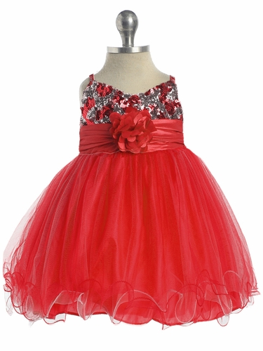Red / Silver Sequined Bodice Pageant Dress