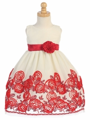 Swea Pea & Lilli Red Sleeveless Tulle Dress W/ Floral Satin Ribbon