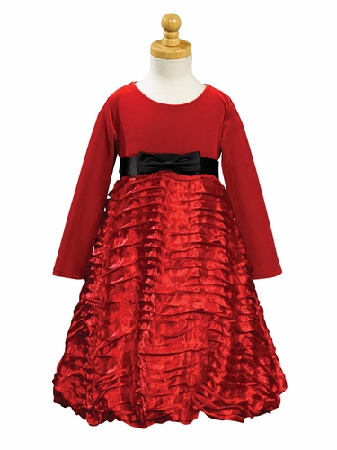 Red Stretch Velvet Bodice w/ Ribboned Embroidered Taffeta Skirt