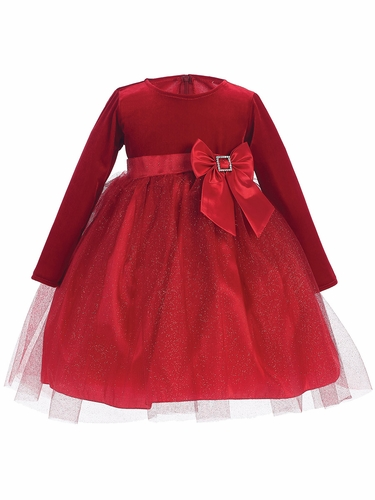 Red Stretch Velvet w/ Glitter Tulle & Bow Dress