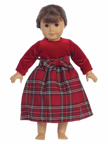 "Red Stretch Velvet w/ Plaid 18"" Doll Dress"