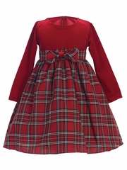 Swea Pea & Lilli Red Stretch Velvet w/ Plaid Dress