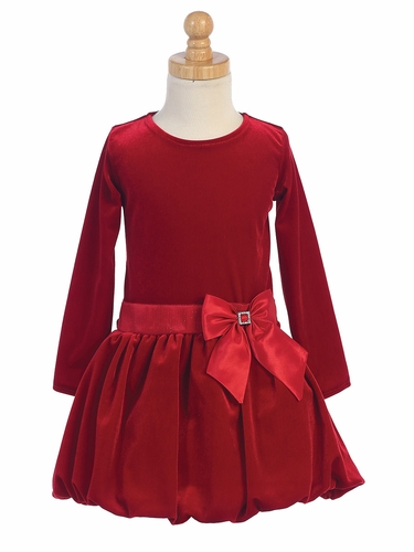 Red Velvet Bubble Dress w/ Glitter Trim & Bow