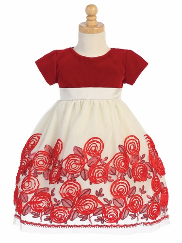 Red Velvet & Tulle Dress W/ Floral Satin Ribbon