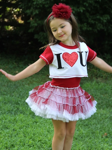 Red/White Ooh! La La! Couture Valentine I Heart U Dress