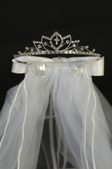 Rhinestone Cross Tiara w/ Satin Bows