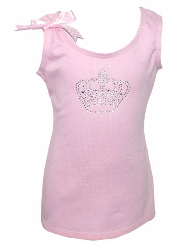 Rhinestone Crown Pink Tank Top
