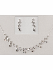 Rhinestone Drop Flower Girl Earrings & Necklace Set