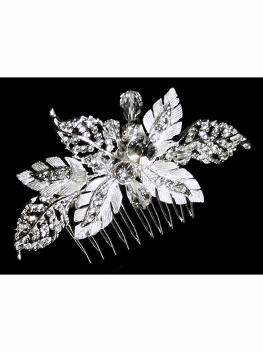 Rhinestone Leaves w/ Crystals Hair Comb