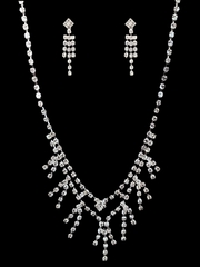 Flash Sale - Rhinestone Necklace & Earrings Set