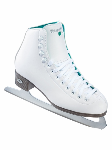 Riedell Ice Skates 110 White Opal Emerald Ladies Shoes w/ GR4 Blade