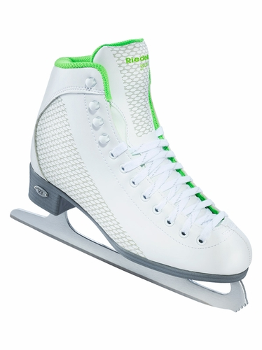 Riedell Ice Skates 113 White & Sparkle Lime Ladies Shoes