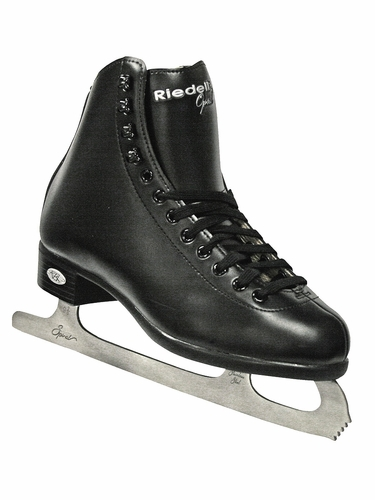 Riedell Ice Skates Black 10/110 Boys/Mens Shoes w/ Spiral Stainless Blade