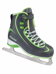 CLEARANCE - Riedell Ice Skates Charcoal/Lime 625 Ladies Shoes w/ Soar Stainless Blade
