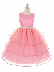 Rose Pink Special Organza Tea Length Dress w/ Pearly Band