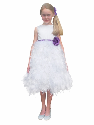 Rosebud Fashions White Satin Bodice w/ Feather Skirt & Removable Ribbon Dress