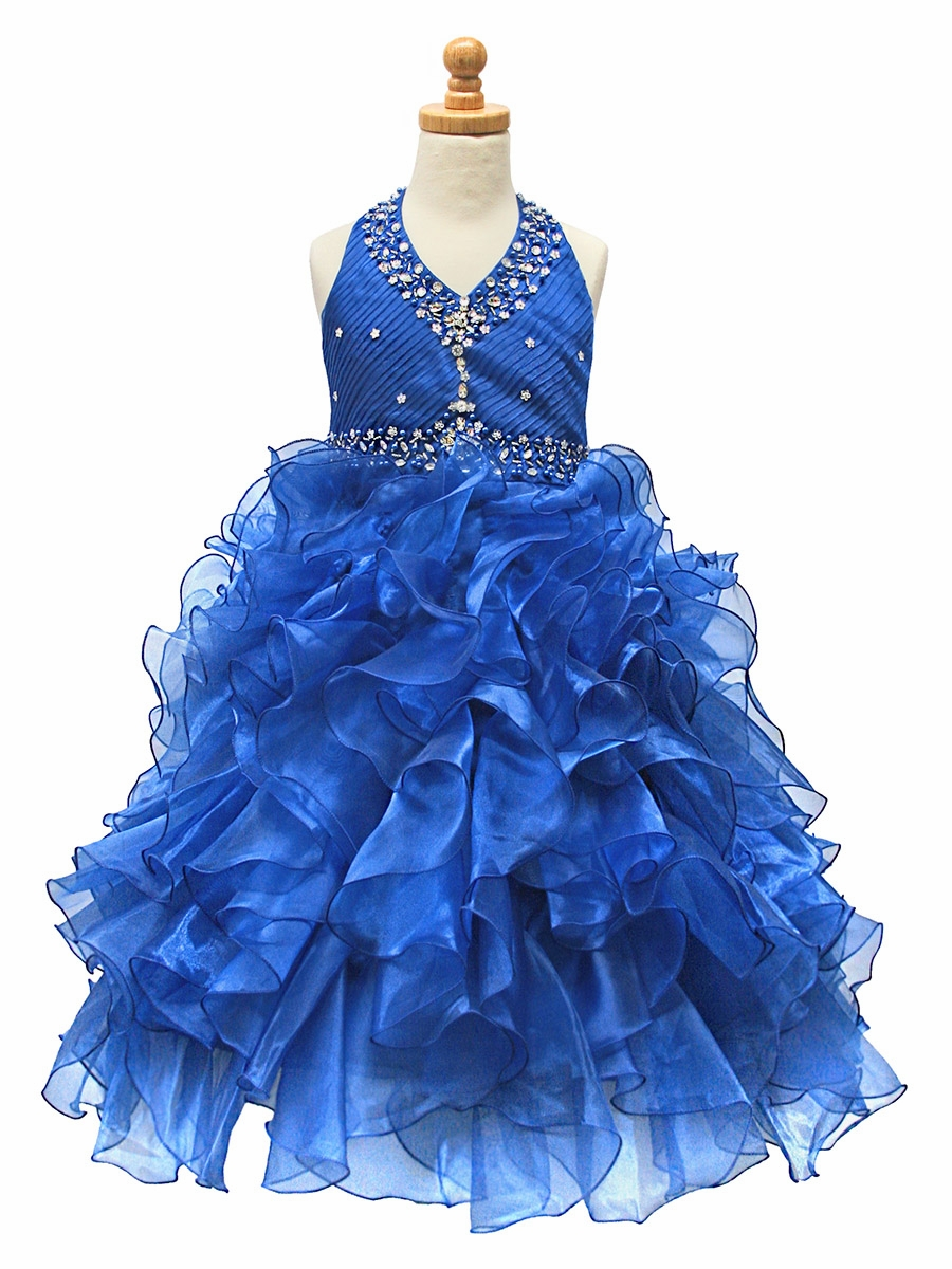 Ruffled Organza Skirt With Embroidered And Beaded Bodice: Royal Blue Beaded Halter W/ Ruffled Organza Dress