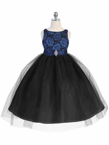 Royal Blue & Black Lace Bodice Tulle w/ Overlay Skirt