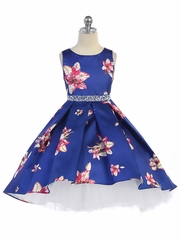 Royal Blue Floral & Tulle High Low Dress w/ Rhinestone Waistband
