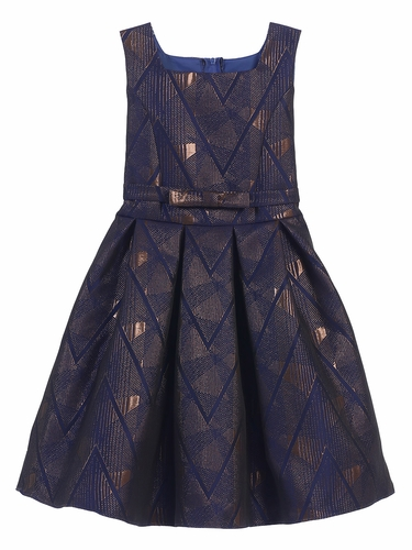 Royal Blue Geometric Jacquard Dress