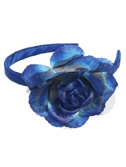 Royal Blue Headband w/ Large Rose
