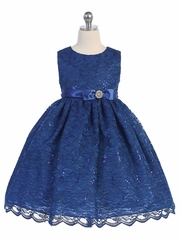 Royal Blue Lace Overlay Brooch Bow Dress