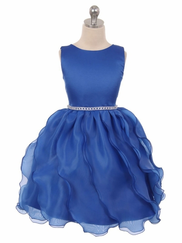 Royal Blue Matte Satin Soft Organza Special Occasion Dress