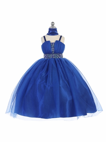 Royal Blue Mesh Pageant Dress w/ Beaded Waistband
