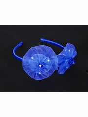 Royal Blue Organza Flower Bow & Rhinestone Headband