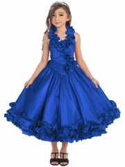Royal Blue Ruffle Halter Pageant Dress