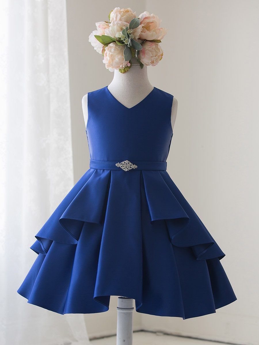 Royal Blue Satin Sleeveless V Neck Dress W Ruffles