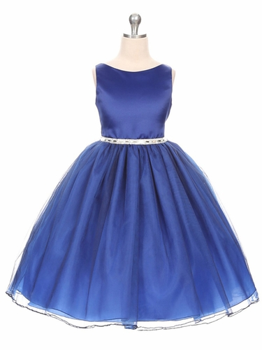 Royal Blue Satin & Tulle Scoop Neck Dress