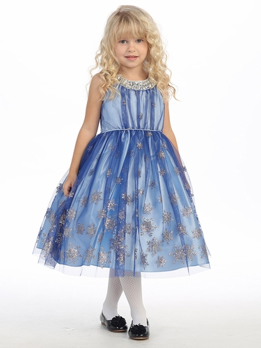 Royal Blue Sparkling Snowflake Dress