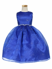 Royal Blue Star Dust Organza Dress