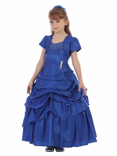 Royal Blue Taffeta Pageant Dress w/ Brooch & Rhinestone