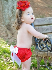 CLEARANCE: RuffleButts Red / White Bow Woven Ruffle Butt