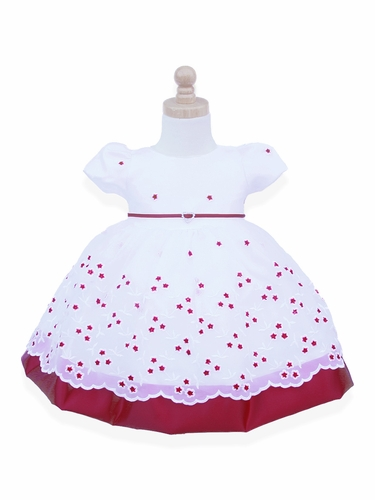 Sabaland 3394 Infant Red & White Floral Embroidered Overlay Dress