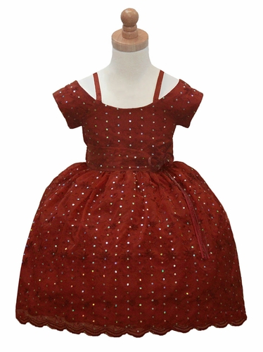 CLEARANCE - Sabaland 3396 Burgundy Off the Shoulder Embroidered & Embellished Dress