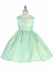 Sage Beaded Neckline Fit & Flare Dress