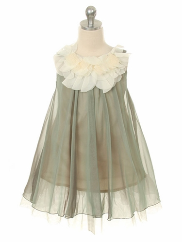 Sage Chiffon Dress w/ Ivory Flower Neckline